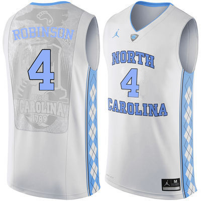 Men #4 Brandon Robinson North Carolina Tar Heels College Basketball Jerseys Sale-White