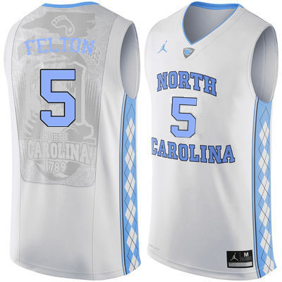 Men #5 Jalek Felton North Carolina Tar Heels College Basketball Jerseys Sale-White