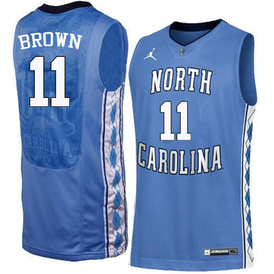 Men North Carolina Tar Heels #11 Larry Brown College Basketball Jerseys Sale-Blue
