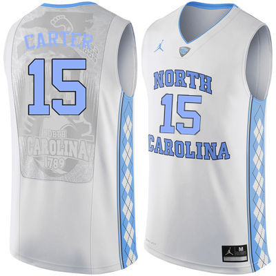 Men North Carolina Tar Heels #15 Vince Carter College Basketball Jerseys Sale-White