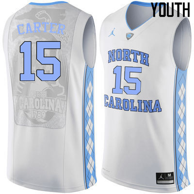 Youth North Carolina Tar Heels #15 Vince Carter College Basketball Jerseys Sale-White